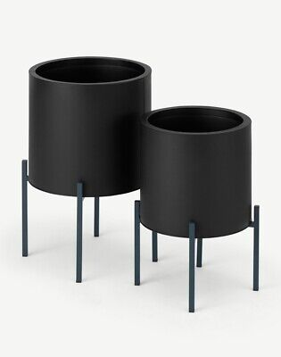 Made.com Noor Set of 2 Large Galvanized Iron Round Plant Stands, Black & Teal