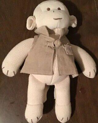 "MiYim Simply Organic Cream Velour Monkey Ivory Cotton Shirt Plush Stuffed 10""Toy"