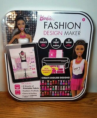 Barbie Fashion Design Maker African American Doll Make Your Own Clothes open BOX