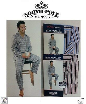 Men's North Pole Premium Two Piece Heavy Warm Flannel 100% Cotton Pajama Set (Premium Two Piece)