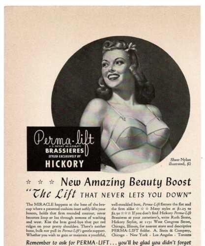 1942 PERMA Lift Brassiere Bra Lingerie Underwear Pin Up Girl Vintage Print Ad