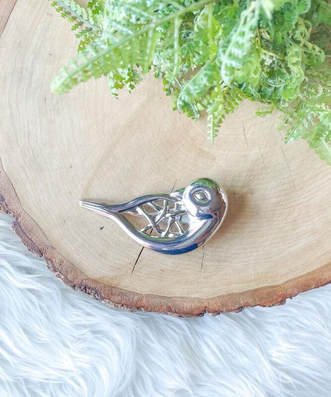 VTG Neiman Marcus Parrot Bird Silver Scarf Clip Barrette Brooch Pin