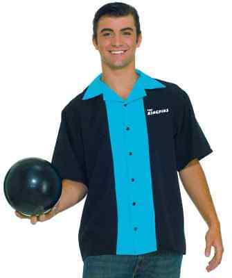 King Pins Bowling Shirt Black Blue 50's Fancy Dress Up Halloween Adult Costume - Bowling Pins Halloween Costume