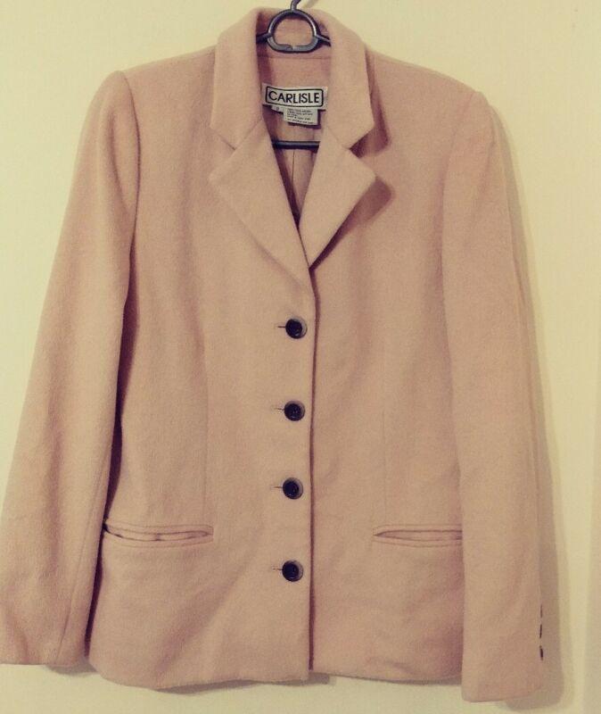 Vintage Carlisle 100% Angora Womens Lined Blazer Pink Size 8