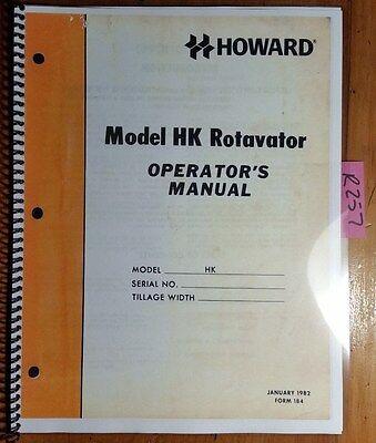 Howard Hk Rotavator 38 Rotary Tiller Owners Operators Manual Form 184 182