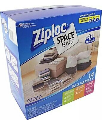 New 14 Ziploc Space Bag Vacuum Seal Storage Bags Waterproof Variety Size