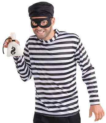 Burglar Thief Robber Striped Shirt Retro Fancy Dress Up Halloween Adult - Robber Costumes