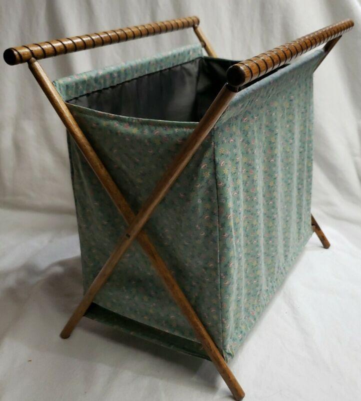 Vintage Knitting Sewing Yarn Cloth Bag Folding Wood Frame Blue Floral 621