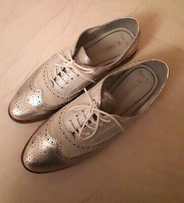 Marco Tozzi Schuhe Budapestet/Oxford Silber Metallic GR 39