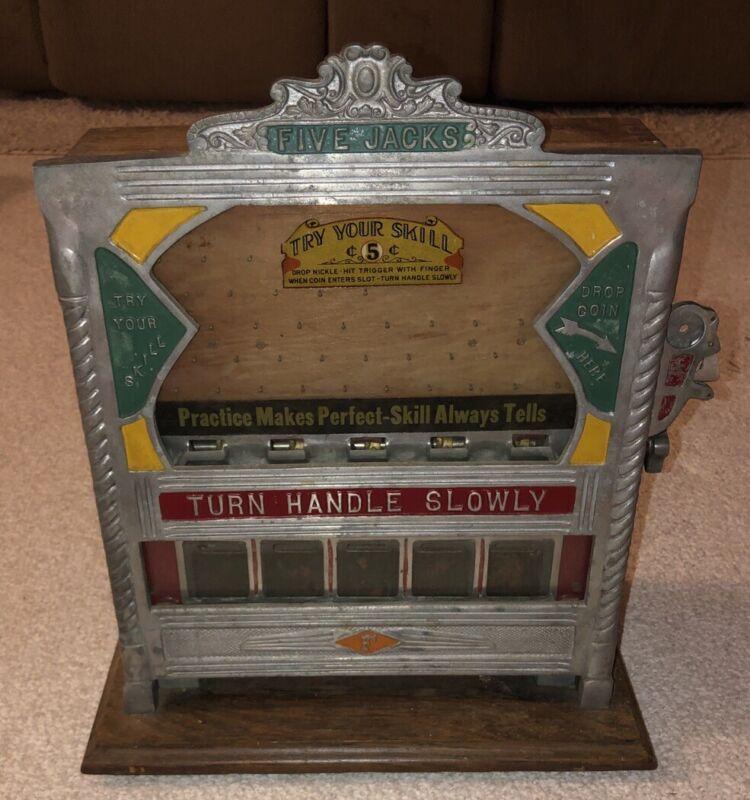 1930s Fields Rare Five Jacks Nickel Drop Gambling Slot Machine Trade Stimulator