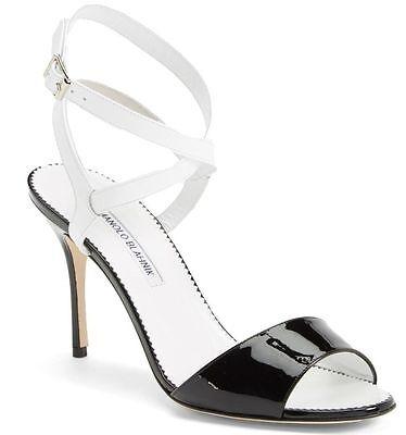 NEW Manolo Blahnik Llonica Bicolor Patent Leather Sandal Heel Black White 40 -10