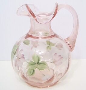 Fenton Art Glass Petal Pink Pitcher with Hand Painted Flowers