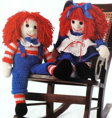 Rag Dolls Crochet Pattern Photocopy Twin Boy & Girl Dolly with Clothes 17