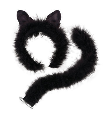 Ladies Deluxe Marabou Cat Set on Ears Headband Tail Halloween Fun Costume Party  (Cat On Halloween Costume)