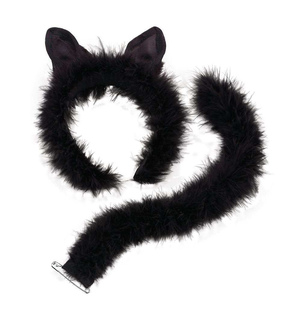 Women Ladies Deluxe Marabou Cat Set Ears on Headband and Tail Partyfun Accessory