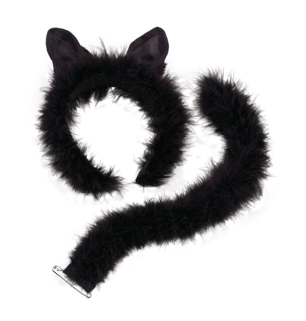 Partyfun Accessories Women Ladies Deluxe Marabou Cat Set on Ears,Headband & Tail