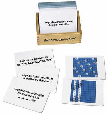 Arbeitskartei zum Hunderterbrett 100 Karten, Montessori Material