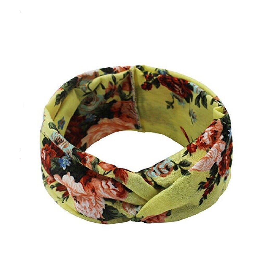 4 Pack Women Elastic Flower Printed Turban Head Wrap Headband Twisted Hair Band