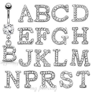 Initial Clear Gem Paved Dangle Letter Surgical Steel Belly Button Ring 14G-3/8