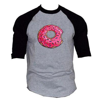Men's Pink Sprinkles Donut Gray Baseball Raglan T-Shirt Doughnut Funny Lit 3D - Baseball Sprinkles