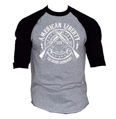 Men's American Liberty 2nd Amendment Gray Baseball Raglan T Shirt Army (Liberty Baseball T-shirt)