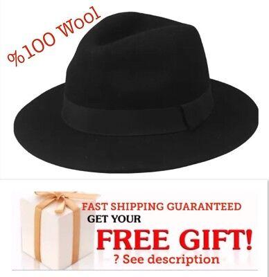 Fedora Hat Formal POPULAR CAP BLACK %100 WOOL WINTER WOMEN MEN CHRISTMAS - Christmas Fedora