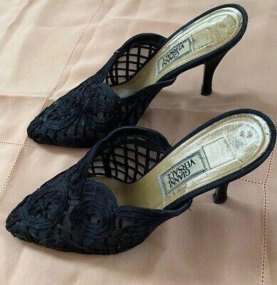 Vintage VERSACE Black High Heel Lace Mesh Designer Pumps Slip On Shoes EUR 37.5