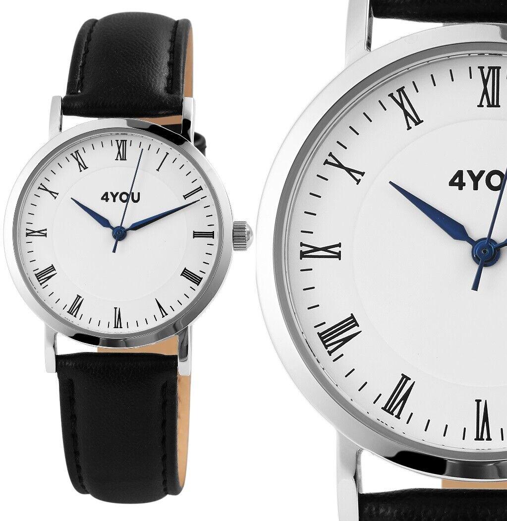 4YOU schicke Damenuhr Herrenuhr Armbanduhr Silber Schwarz Kunstleder 250001000