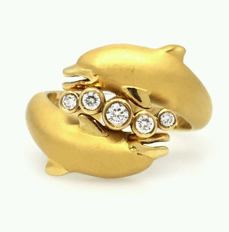 Carrera Y Carrera Dolphin Diamond Ring In 18k Yellow Gold - Hm1559sa