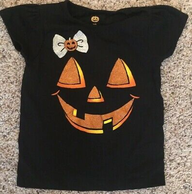 Babies R Us Girls 24 Month Black Halloween T-Shirt Pumpkin Glitter Orange](Halloween Babies R Us)