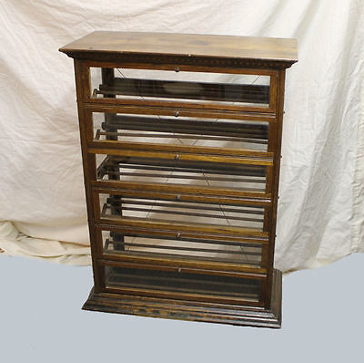 Antique Oak Country Store Display Ribbon Cabinet