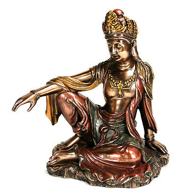 KWAN YIN STATUE Royal Ease Buddhist Goddess HIGH QUALITY Buddha Quan Guan Bronze