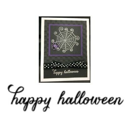 Cling Rubber Stamp Happy Halloween Flourish Memory Box Stamps words phrases