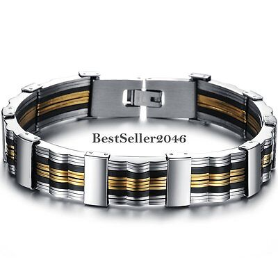 Men's Black Silicone Gold Tone Link Gift Silver Stainless Steel Bracelet