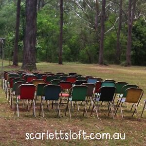 Retro vintage coloured metal chairs for hire $3 Highfields Toowoomba Surrounds Preview