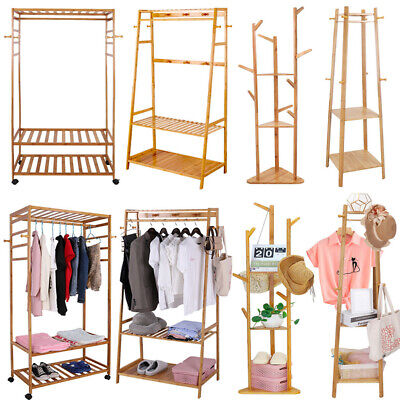 Solid Wood Coat Rack Stand Clothes Hanging Rail Rack Shelf Closet Portable Use