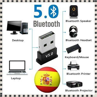 Mini Micro Adaptador Inalámbrico USB Bluetooth V 5.0 Dongle para PC Windows...