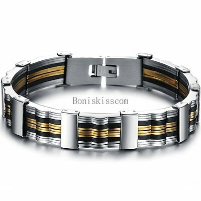Cool Fashion Men's Black Silicone Gold Tone Love Gift Stainless Steel Bracelet