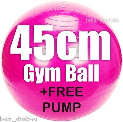 45CM SIZE PINK FITNESS EXERCISE SWISS FIT YOGA CLASS GYM BALL CORE GYMBALL &PUMP