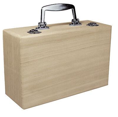 Holz Koffer mit Metallgriff  Holzkiste Kasten Kästchen Schatulle Holzkoffer