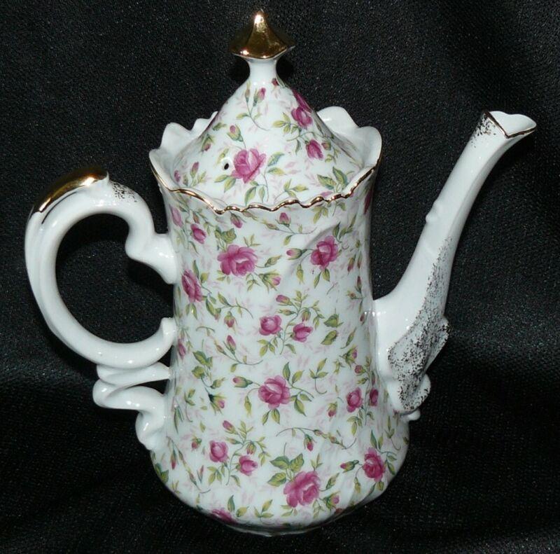 Vintage Lefton China Hand Painted Rose Chintz Teapot Coffee Pot EUC