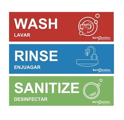 Wash Rinse Sanitize Sink Labels For 3 Compartment Sinks 3 Stickers Each