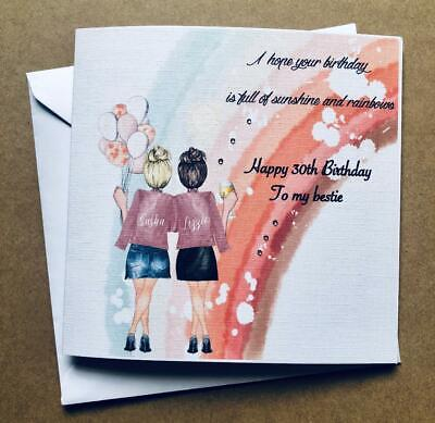 Sunshine & Rainbows Birthday Card Best Friend/ Sister/ cousin etc 25th 30th
