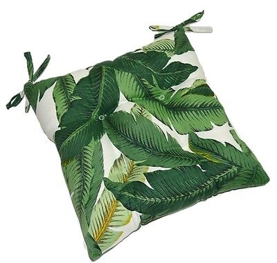 In / Outdoor Swaying Palms Patio Chair Tufted Seat Cushion w/ Ties - Choose Size