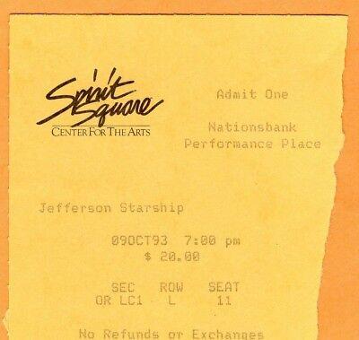1993 Jefferson Starship Concert Ticket Stub Kantner Casady Charlotte NC
