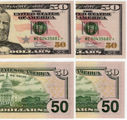 Two 2013 $50 Federal Reserve Star Notes Crisp Uncirculated Consecutive #