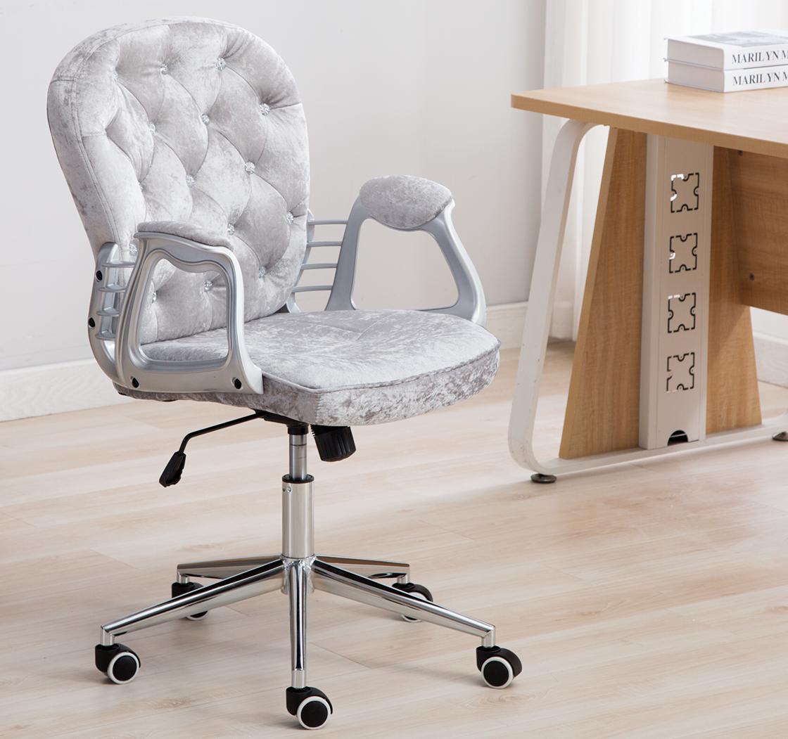 Luxury Vintage Silky Velvet Swivel Rocking Lift Home Office Chair