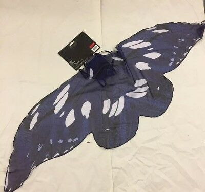 Soft Flowy Chiffon Butterfly Dark Fairy Wings Costume Accessory Navy Blue Black