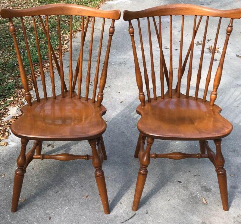2 VINTAGE ETHAN ALLEN Heirloom Maple Duxbury Fiddleback Side Chairs 10-6020