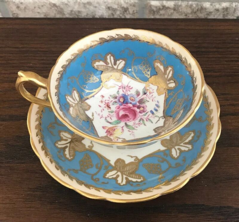 Vintage Paragon English Bone China Tea cup and Saucer Gold Blue Cabbage Rose